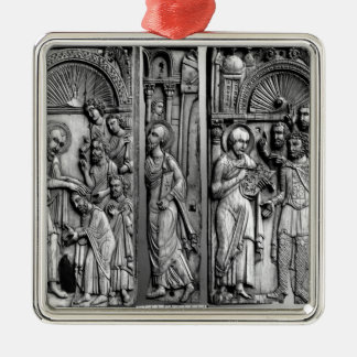 Three Plaques from the throne Silver-Colored Square Ornament