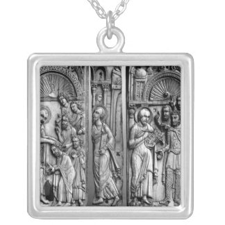 Three Plaques from the throne Silver Plated Necklace