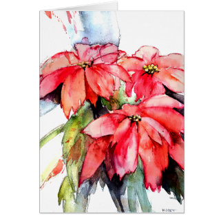 Three Poinsettias in Watercolor Card