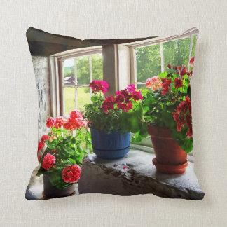 Three Pots of Geraniums on Windowsill Throw Pillow