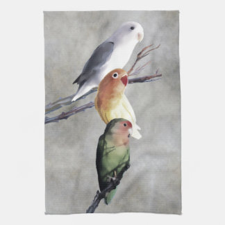 Three Pretty Lovebirds Kitchen Towel