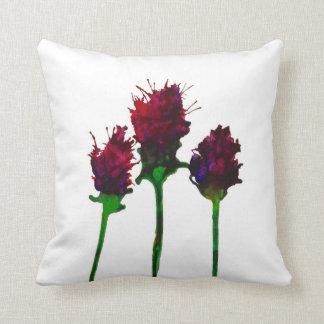 Three Pretty Purple Flowers printed on 100% cotton Throw Pillow