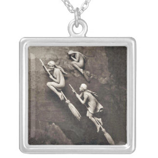Three Pretty witches Sepia Color on Brooms Silver Plated Necklace