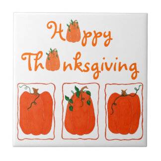 Three Pumpkins Happy Thanksgiving - Ceramic Tile