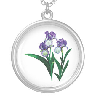 Three Purple and White Irises Silver Plated Necklace