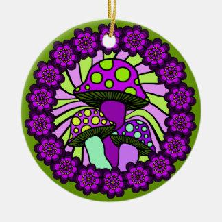 Three Purple Mushrooms Ornament