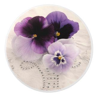 Three purple pansies ceramic knob