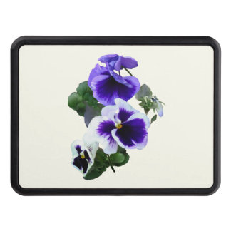 Three Purple Pansies in a Row Trailer Hitch Cover