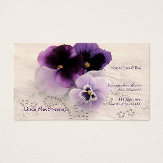 Three purple pansies mom business card