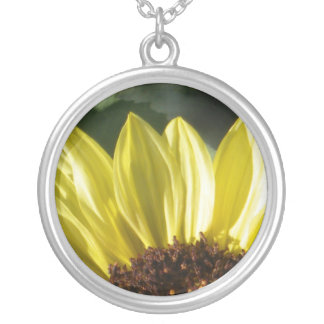 three quarter sunflower silver plated necklace