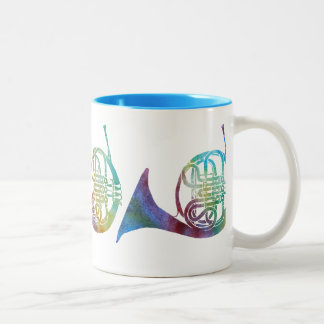 Three Rainbow Wash French Horns Two-Tone Coffee Mug