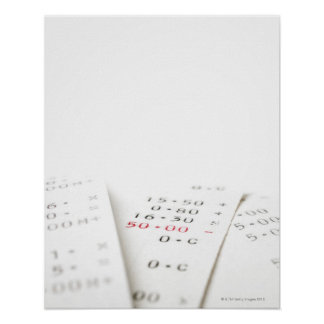 Three receipts on white background. There are Poster
