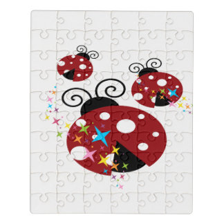 Three red and black ladybug with stars jigsaw puzzle