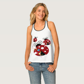 Three red and black ladybug with stars tank top