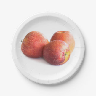 Three red apples paper plate
