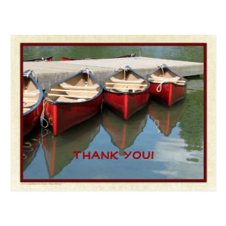 Three Red Canoes Thank You Postcard Red Letters