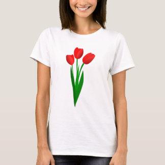 Three Red Cartoon Tulips T-Shirt