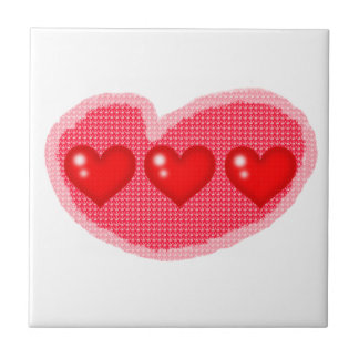 Three Red Hearts (White Background) - Tile