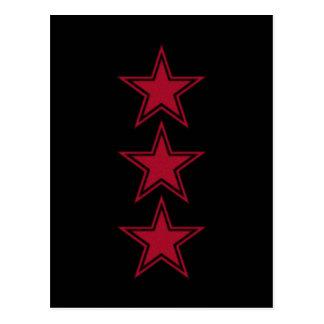 Three Red Stars Postcard