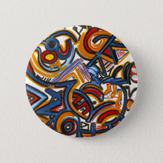 Three Ring Circus-Modern Art Colorful Handpainted 2 Inch Round Button