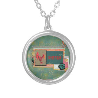 Three Roosters, Happy New Year in Chinese, Sign of Silver Plated Necklace
