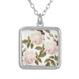 Three Rose Cream Silver Plated Necklace