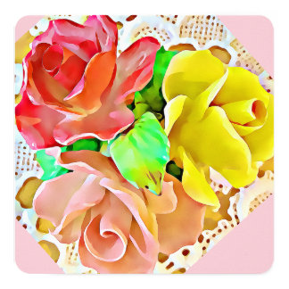 Three Roses card, invitation: red, pink, yellow Card