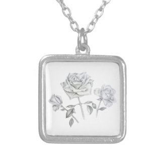 Three roses silver plated necklace