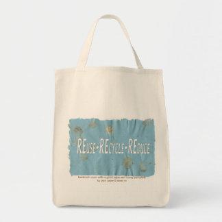 Three Rs on Handmade paper Tote Bag