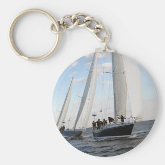 Three Sailboats on the Sea. Basic Round Button Keychain