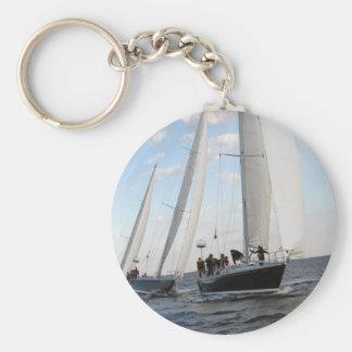Three Sailboats on the Sea. Basic Round Button Keychain