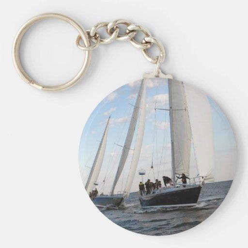 Three Sailboats on the Sea. Key Chains