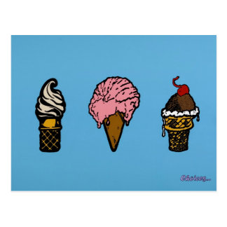 """THREE SCOOPS"" POSTCARD"
