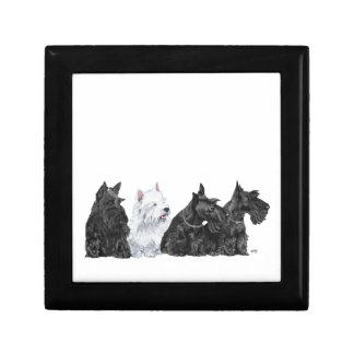 Three Scotties & a Westie Trinket Box