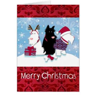 Three Scotty Dogs Christmas Card