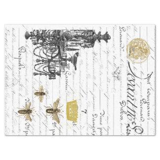 Three Script Bees Decoupage Tissue Collage Tissue Paper