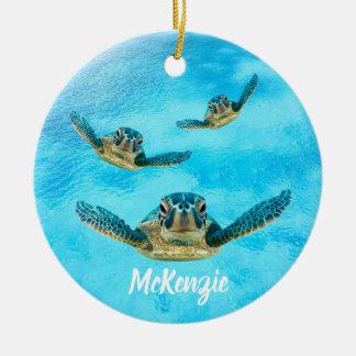 Three Sea Turtles Swimming Ceramic Ornament