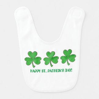 Three Shamrocks St. Patrick's Day Baby Bib