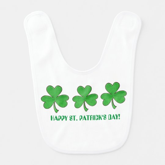 Three Shamrocks St. Patrick's Day Baby Bib