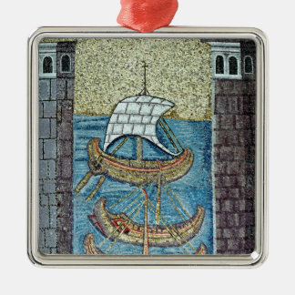 Three ships entering the port of Ravenna Silver-Colored Square Ornament