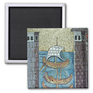 Three ships entering the port of Ravenna Square Magnet