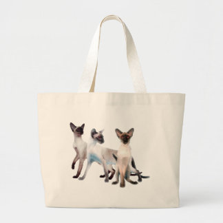 Three Siamese Cats Large Tote Bag