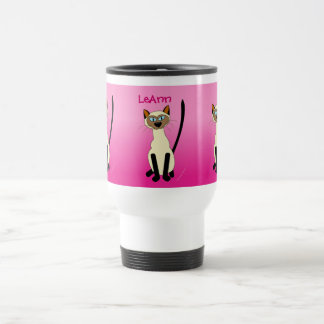 Three Siamese Cats Pink Personalized Stainless Travel Mug