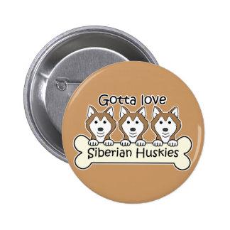 Three Siberian Huskies 2 Inch Round Button