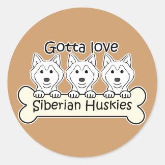 Three Siberian Huskies Classic Round Sticker