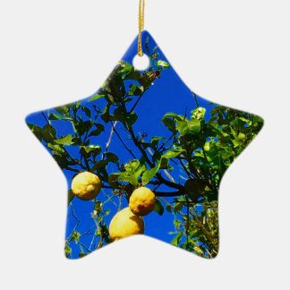 Three Sicilian Lemons Ceramic Ornament