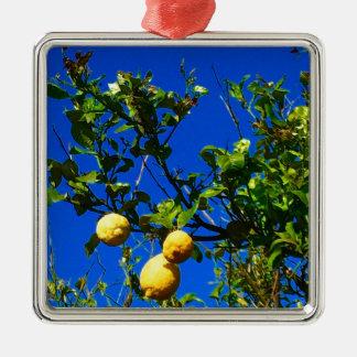 Three Sicilian Lemons Metal Ornament