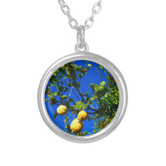 Three Sicilian Lemons Silver Plated Necklace