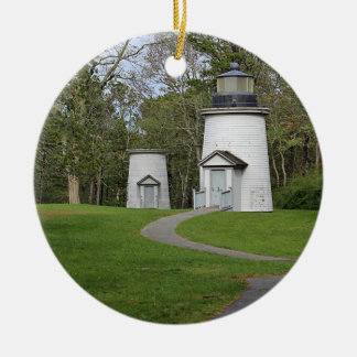 Three sisters lighthouses round ceramic ornament