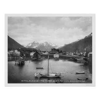 Three Sisters Mountains Sitka 1912 Poster